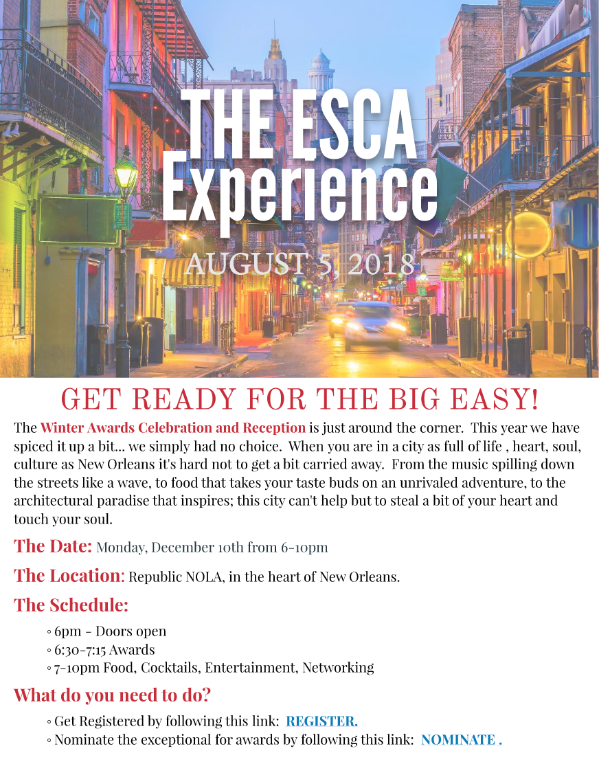 The ESCA Experience – August 5, 2018