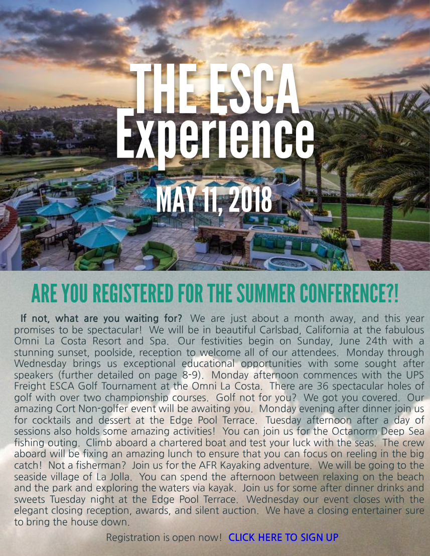 The ESCA Experience – May 11, 2018